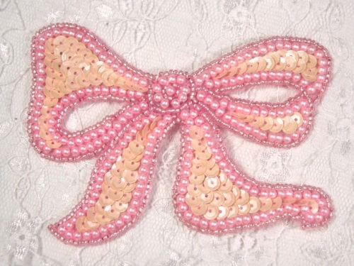 MA80 Pink Opaque Bow Sequin Beaded Applique 4