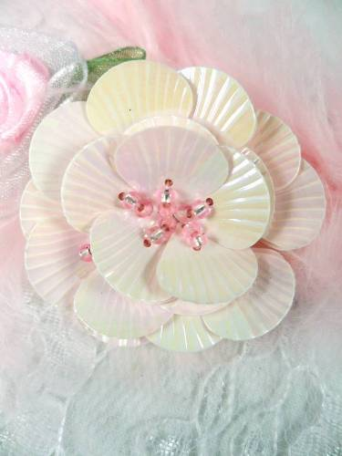 MA84  Pink Flower Beaded Sequin Applique 1.5
