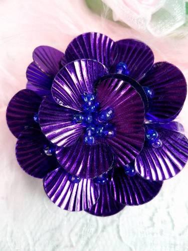 MA84  Purple Flower Beaded Sequin Applique 1.5