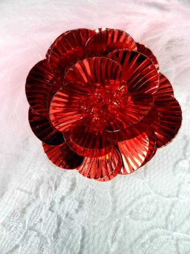 MA84  Red Flower Beaded Sequin Applique 1.5\