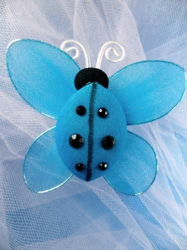 MR026 Turquoise Organza Lady Bug Embellishment 2.75\