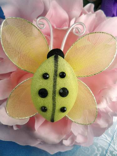 MR026 Yellow Organza Lady Bug Embellishment 2.75\