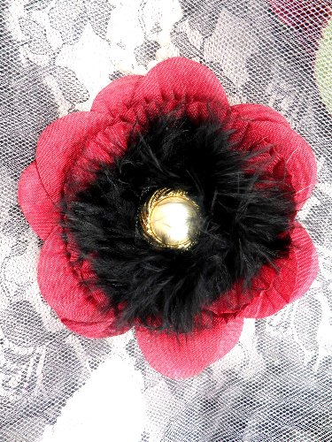 FB57 Gold Pearl Burgundy Black Floral Marabou Feather Pin Brooch 3.5\