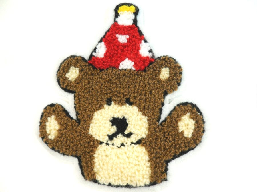 Cute Bear Applique wearing Birthday Hat Embroidered 4 (MS120)