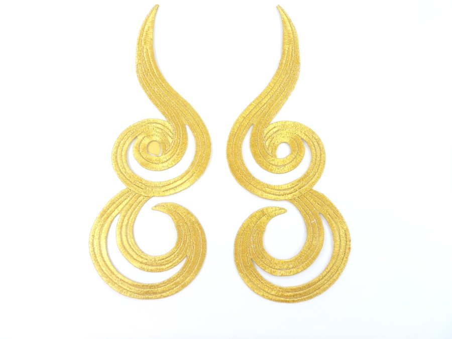 Gold Metallic Appliques Embroidered Scroll Mirror Pair Iron On Patch 7 MS1203X