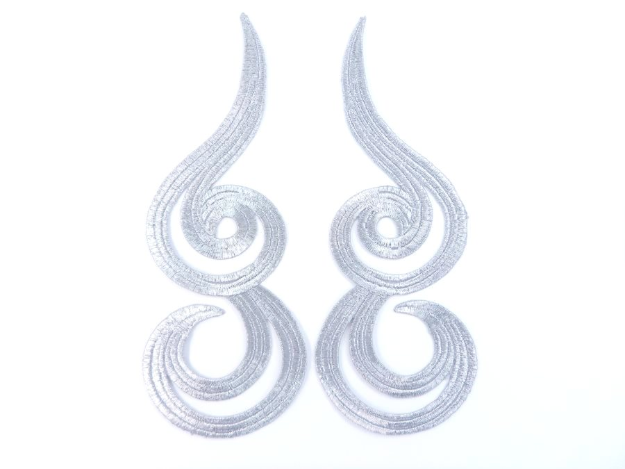 Silver Metallic Appliques Embroidered Scroll Mirror Pair Iron On Patch 7 MS1203X