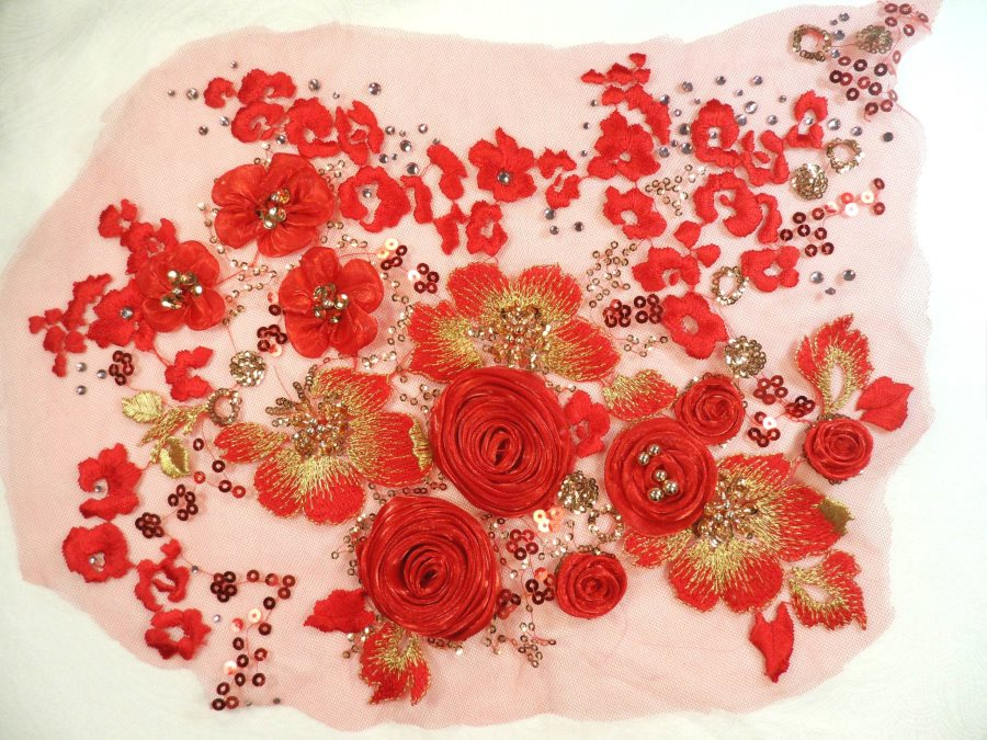 Embroidered Lace Floral Applique Red and Gold Sequined 15 (MS122)