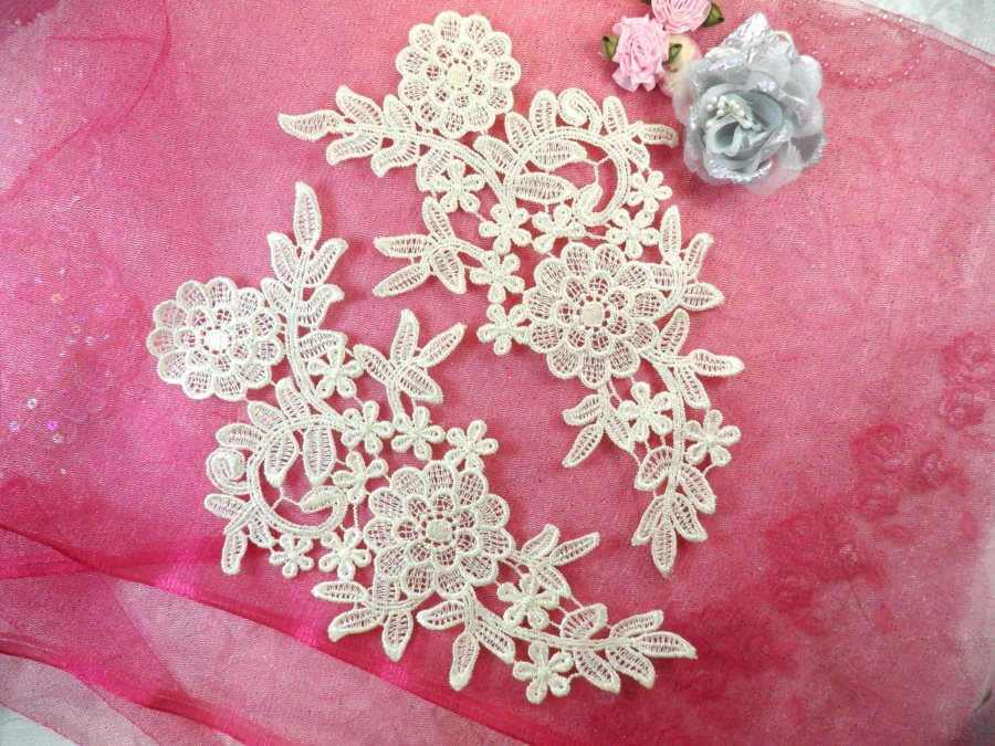 (REDUCED) Venise Lace Embroidered Off White Floral Venice Mirror Pair Motifs 10.25 (RMDH121X)