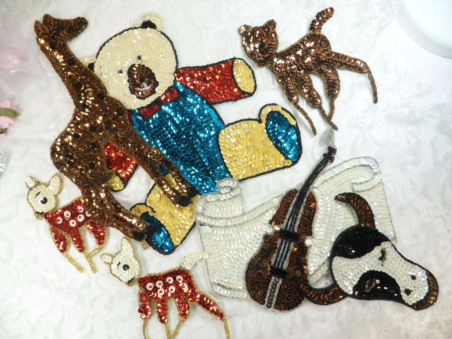 Sequin Applique Lot 7 Pieces for one Low Price Sample Pieces Reduced (MS198)