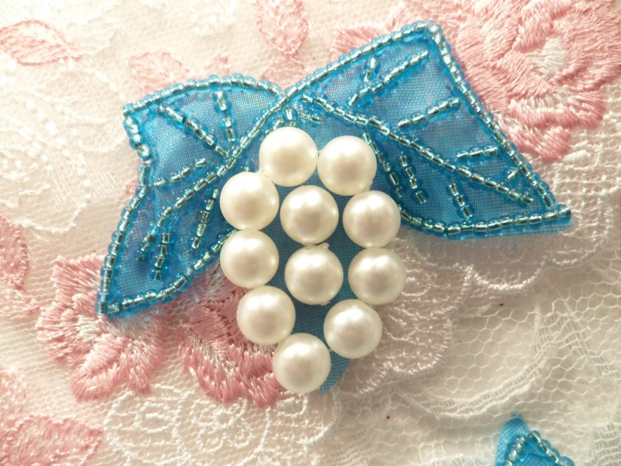 Beaded Applique Turquoise and White Vine Pearl Cluster 2.5 (MS202)