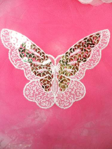 MS87 Embroidered Butterfly White Gold Sequin Applique 3.75\