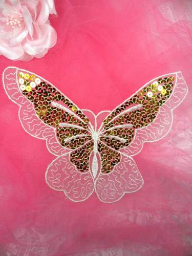 MS89 White Gold Embroidered Butterfly Sequin Applique 6\
