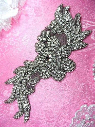 (REDUCED) RMN1 Black Backing Silver Beaded Crystal Rhinestone Applique Flower 8.5