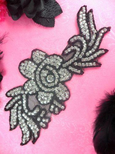 N1 Black Backing Black Beaded Crystal Rhinestone Applique Flower 8.5\