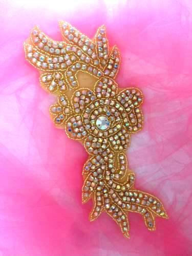 N1 Gold Beaded Crystal AB Rhinestone Applique Flower 8.5\