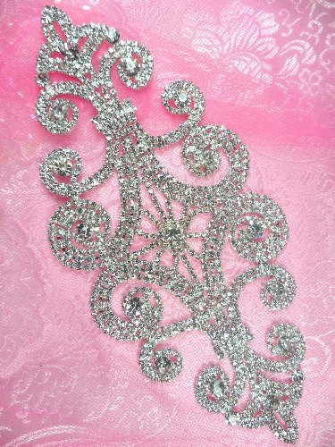 N10 Bridal Crystal Rhinestone Sash Applique Metal Back Embellishment 8