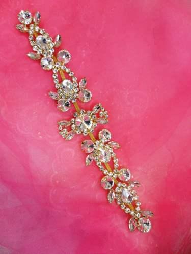 N14 Gold Crystal Clear Rhinestone Applique Embellishment 10\