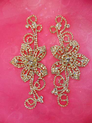 Crystal Rhinestone Applique Gold Embellishment Mirror Pair