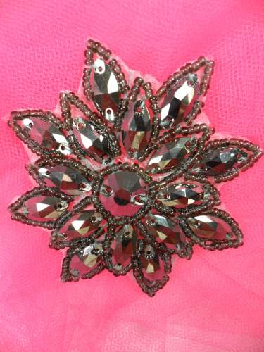 N19 Pewter Rhinestone Applique Jewel Snowflake Patch  3\