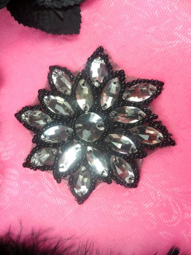 N19 Black Beaded Crystal Clear Glass Rhinestone Jewel Snowflake Applique 3\