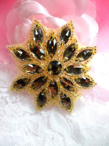 N19 Champagne Glass Rhinestone Applique Snowflake Floral Beaded Patch 2.75\