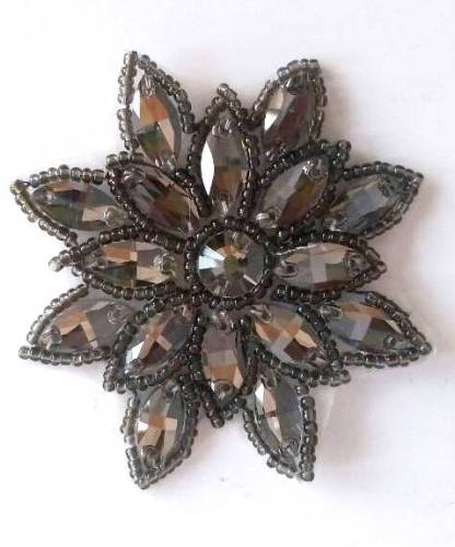N19 Gunmetal Rhinestone Applique Jewel Snowflake Patch  3\