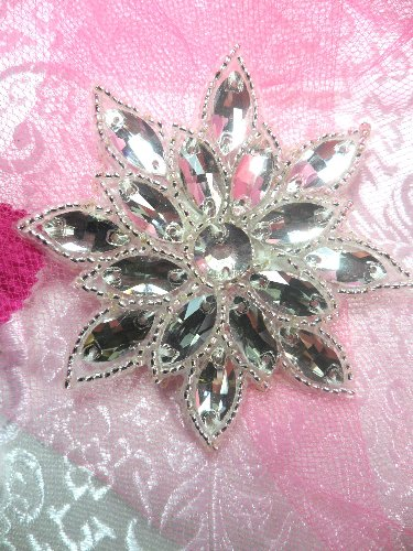 N19 Crystal Clear Glass Rhinestone Jewel Snowflake Silver Beaded Applique 3\