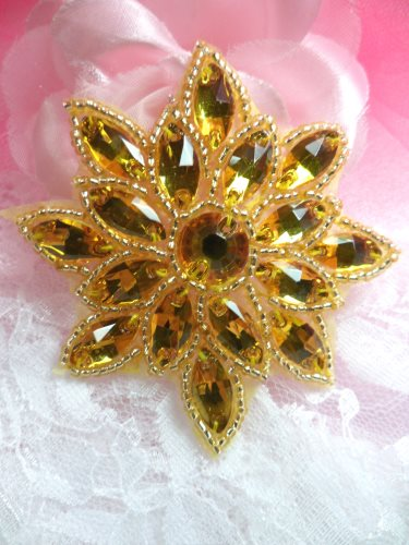 N19 Yellow Glass Rhinestone Applique Snowflake Floral Beaded Patch 2.75\