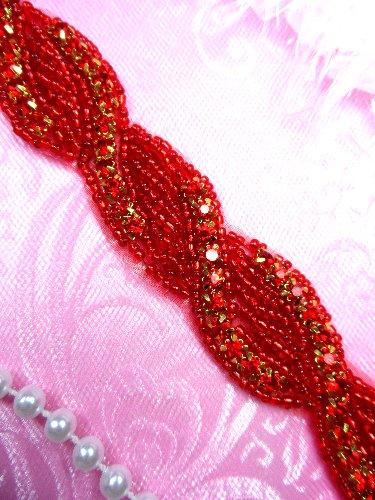 RMN2-rd-26 REMNANT Red Rhinestone Jewel Braided Twist Trim 26