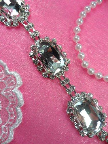 N23 Rectangle Silver Crystal Clear Glass Rhinestone Metal Backing Trim 1