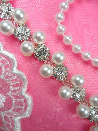N26 Bridal Trim Pearl Crystal Rhinestone .5\
