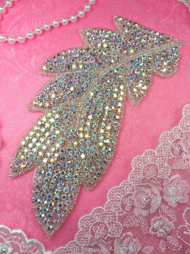 N31 Leaf Aurora Borealis Silver Beaded Floral Crystal AB Rhinestone Applique 7\