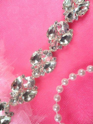 N47 Silver Crystal Clear Rhinestone Metal Backing Trim 1