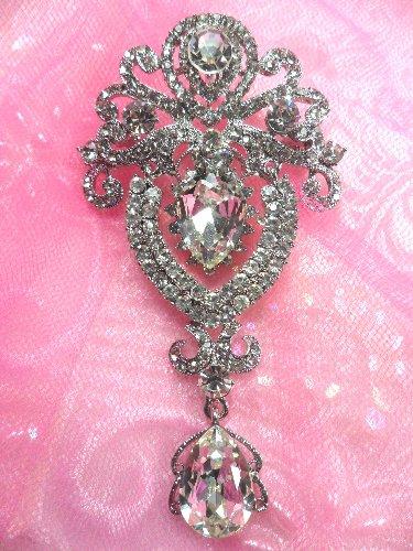 GB791 Bridal Silver Crystal Glass Rhinestone Brooch Brianna 4