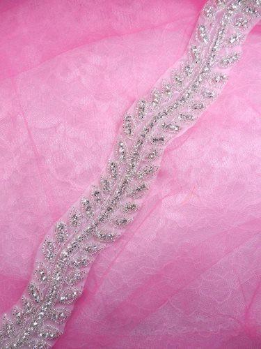 N61 Bridal Sash Trim Rhinestone Crystal Clear Silver Beaded