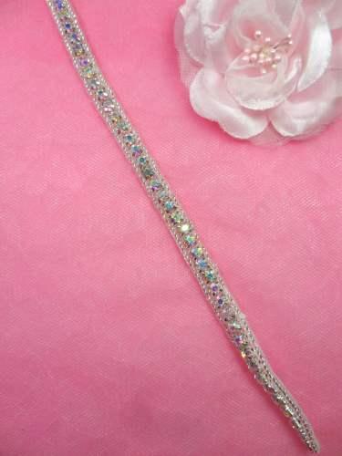 REMNANT Petite Thin Crystal AB Rhinestone Trim Silver Beaded 32 (N7)