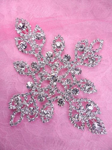 N83 Crystal Rhinestone Bridal Applique Metal Back Embellishment 4.75