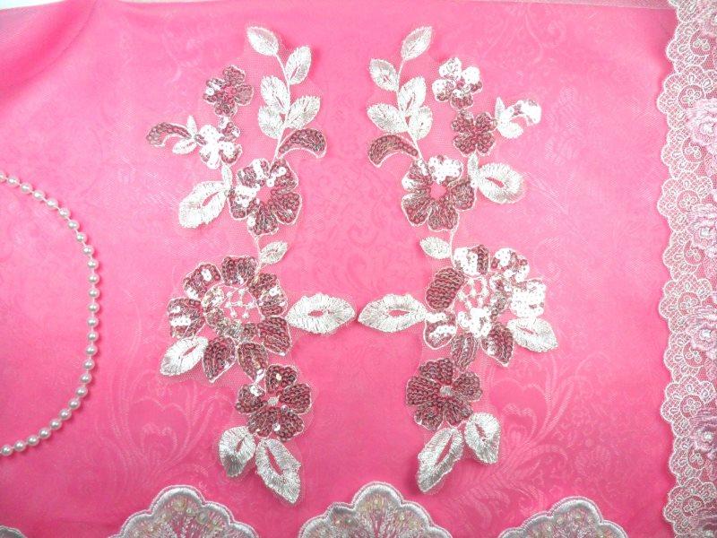 Venise Lace Appliques White Floral Mirror Pair Sequin 10 (BL73X-wh)