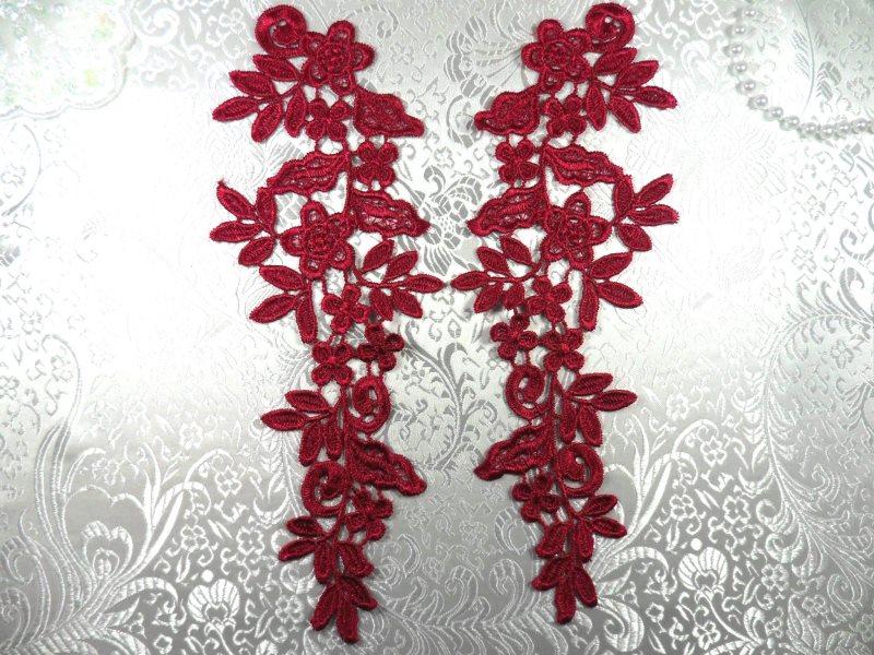 Floral Venise Lace Appliques Mirror Pair Burgundy 9.5 (GB360X-bur)