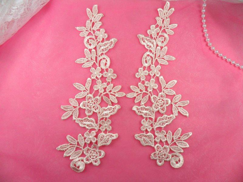 Floral Venise Lace Mirror Pair Appliques Light Pastel Pink 9.5 (GB360X-lpk)