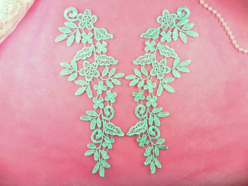 Floral Venise Lace Mirror Pair Appliques Mint Green Embroidered  9.5 (GB360X)