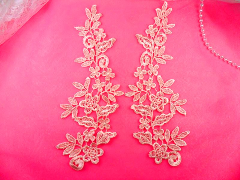 Floral Venise Lace Mirror Pair Appliques Peach Pink 9.5 (GB360X)