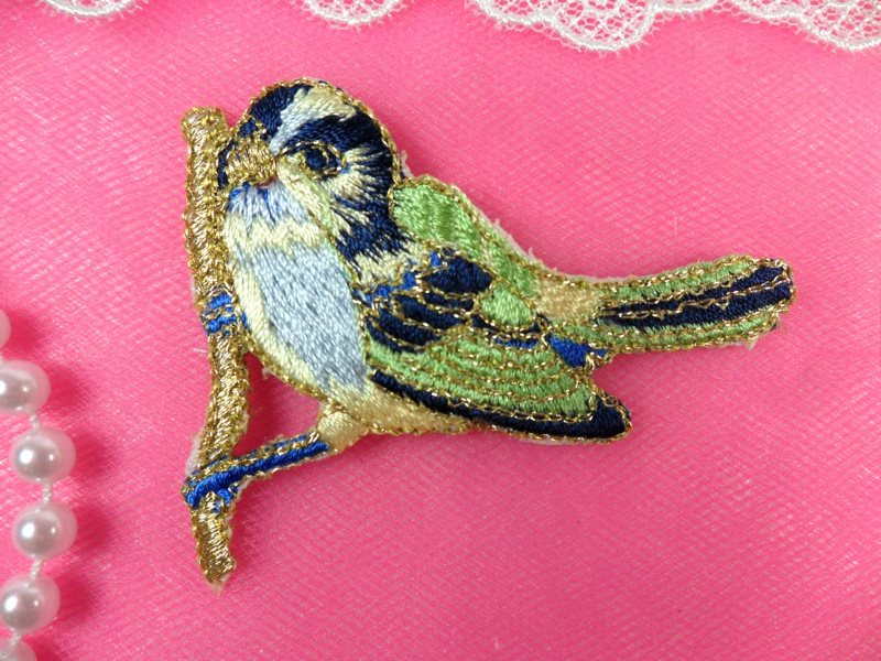 Embroidered Bird Applique Blue Small Perching Iron On 3 (GB444)