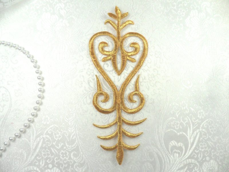 Embroidered Patch Gold Costume Applique Metallic Iron On Designer 8 (GB460-gl)