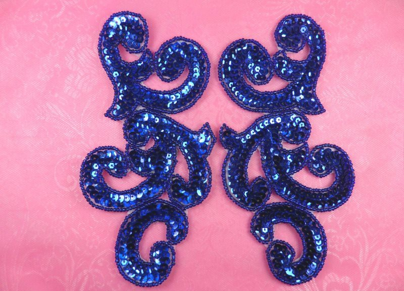 Sequin Appliques Blue MIRROR PAIR Scroll Designer Beaded Iron On 7 (XR357X-bl)