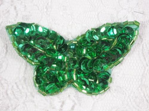 MA160 Green Beaded Sequin Butterfly Brooch / Earrings / Applique 2