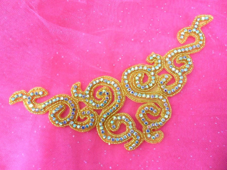 Rhinestone Applique Beaded Gold Crystal Aurora Borealis Craft Patch 9.5 (P2)