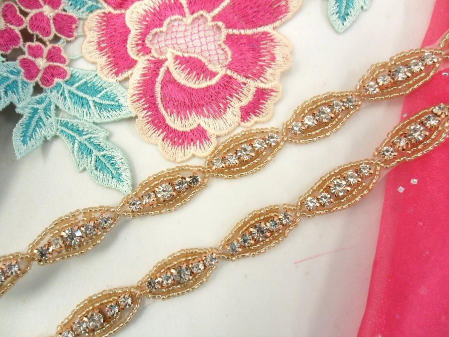 Rhinestone Trim Crystal Stones Rose Gold Beads 1/2 (P3)