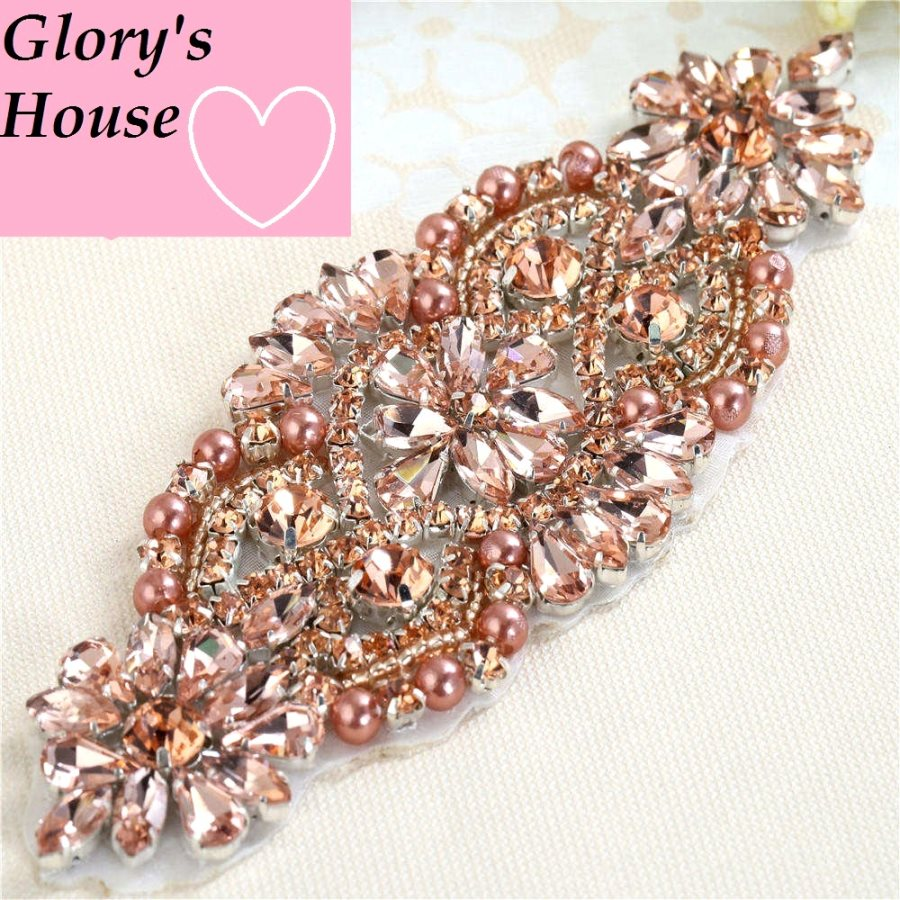 Rose Gold Crystal Applique Beaded DIY Bridal Dress Sash or Accessories P4