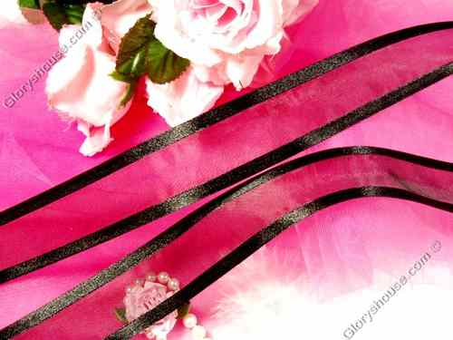 R6  Black Orangza Satin Edge Craft Ribbon 1.5